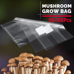 50/100Pcs 320x450x0.06mm PVC Mushroom Grow Bag Substrate High temp Pre Sealable