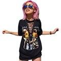 Mujeres Casual Camiseta de Impresión Vendaje Profundo Cuello En V Manga Corta Camiseta Negro Loose Femininas 2017 Summer Tee Top LJ8394M