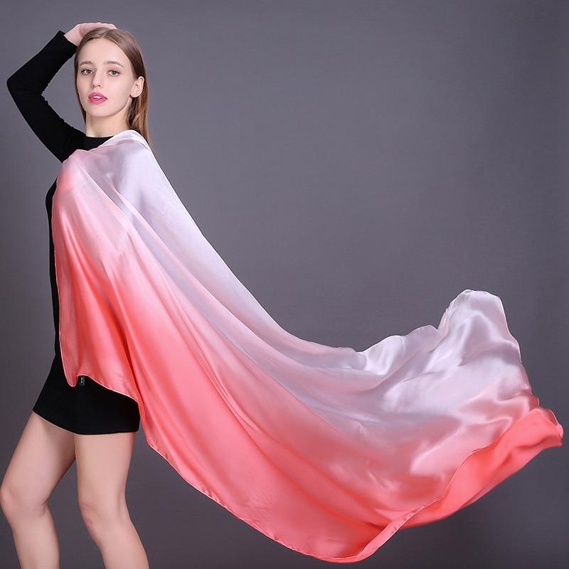 ☆ 2019 люксовый бренд Women Gradient Ombre Шелковый шарф Beach Shawl и Echarpe Summer Wrap Дизайнерски