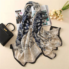 2017 Fashion Women 100% Pure Silk Scarf Female Luxury Brand Print Paisley Foulard Shawls and Scarves Beach Cover-Ups SFN163