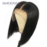 Предварительно сорвал короткий парик Боб Glueless Синтетические волосы на кружеве человеческих волос парики для Для женщин бразильский Реми