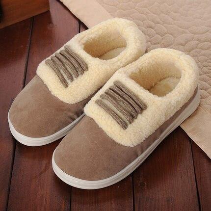 FAYUEKEY/зимние теплые домашние тапочки с хлопковой подкладкой; домашние теплые тапочки для влюбленных; обувь на плоской подошве; - Цвет: khaki