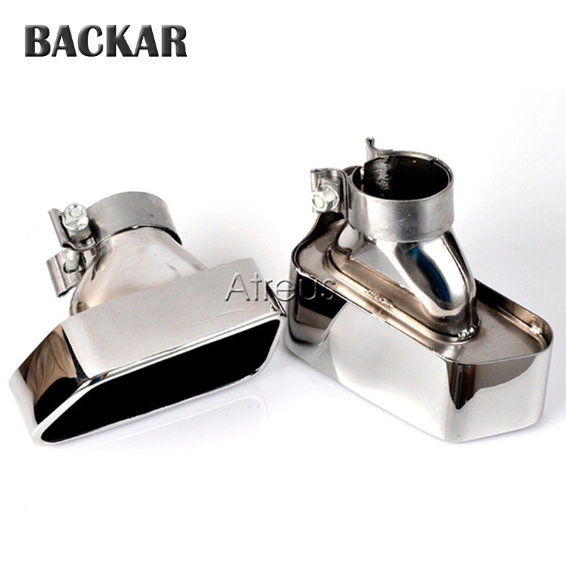 Backar 2pcs Car Styling Chrome 304 Stainless Steel Exhaust Rear Tips Muffler Pipe For BMW 2013 2014 F10 F18 5 Series AccessoriesBackar 2pcs Car Styling Chrome 304 Stainless Steel Exhaust Rear Tips Muffler Pipe For BMW 2013 2014 F10 F18 5 Series Accessories