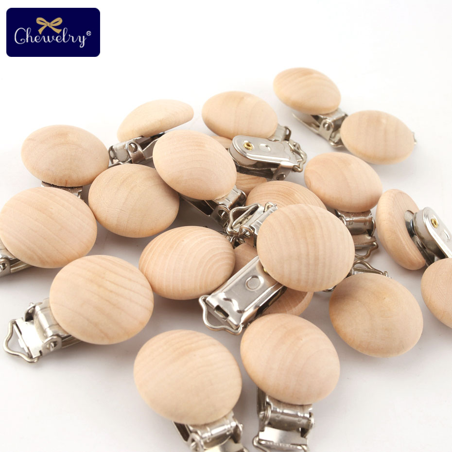 CHELWLRY 20PC Maple Wooden Pacifier Clips Wooden Soother Clips Wooden Nursing Gift DIY Dummy Clip Chains Wooden Teether Baby Toy