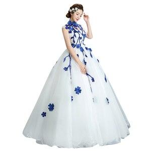 Image 1 - 980es De Quinceaneras 2021 nouveau col haut sans manches longues robes De Quinceanera fleur grande taille fermeture éclair sur mesure robe De bal L