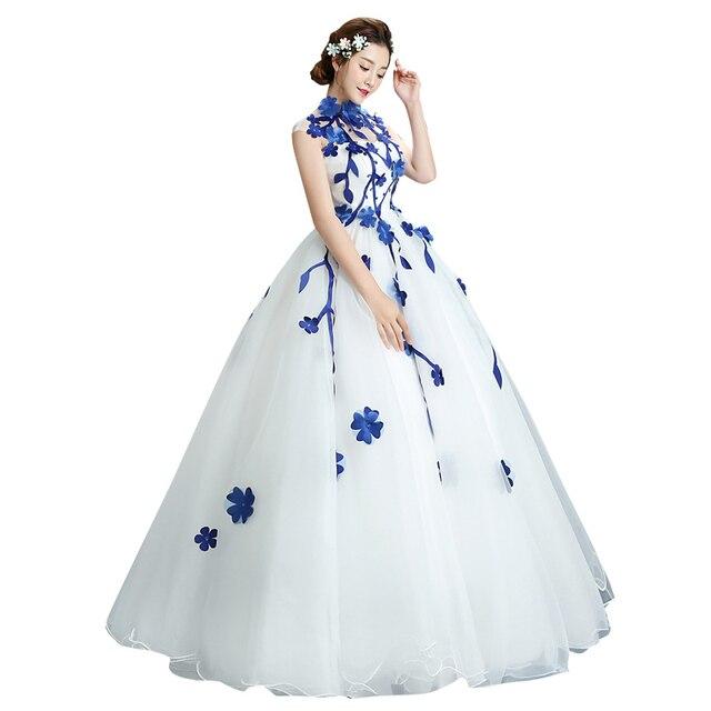 Trajes De Quinceaneras 2021 Neue High Neck Ärmellose Lange Quinceanera Kleider Blume Plus Größe Zipper Maß Abendkleid L
