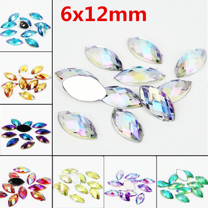 Horse eye Shape Resin Rhinestone AB Crystal Acrylic Decorate Nail art 6x12MM 500Pcs Flat Back Earth Facet Decorative Nail Drill ann w wacira student choice of universities