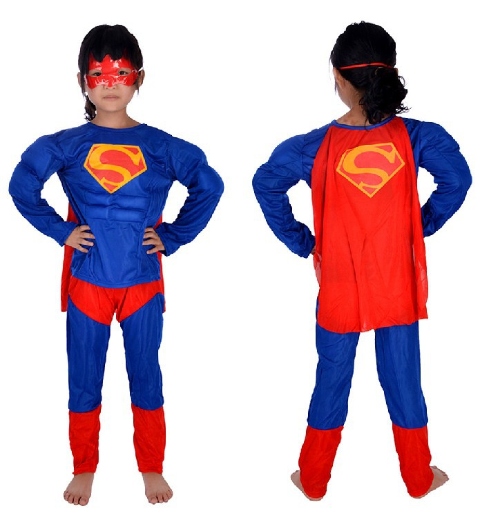 Free shipping , children muscle superman costume clothes,halloween cosplay party muscle super hero costume ,cape