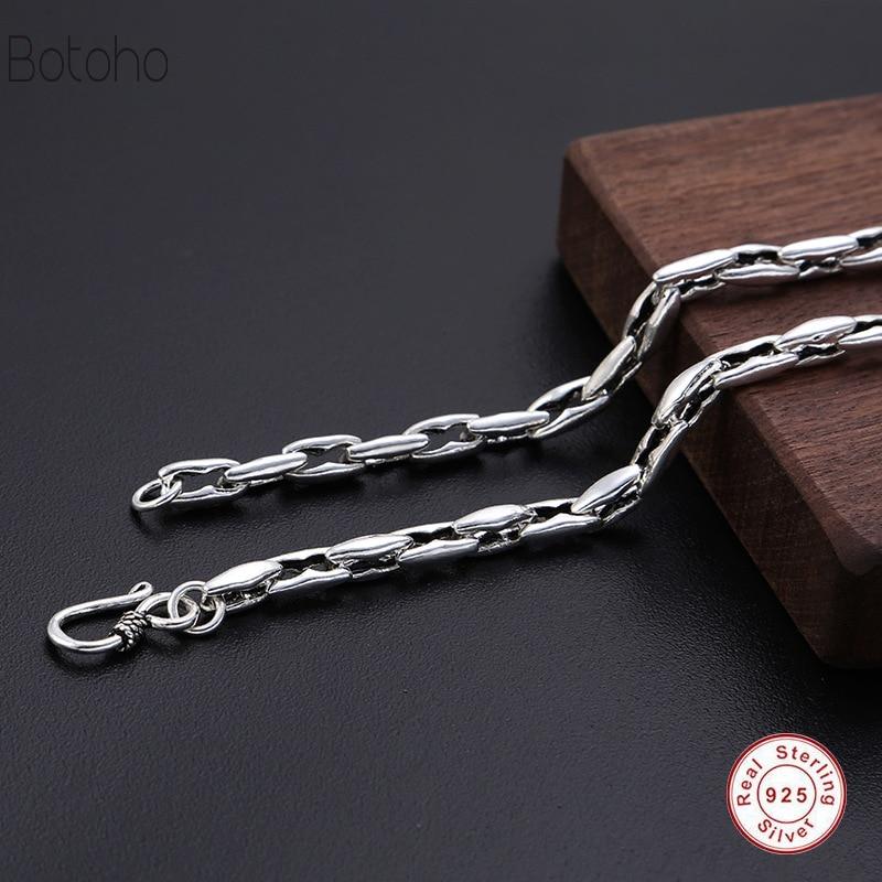 100% véritable 925 Sterling argent bijoux chaîne hommes collier Thai argent pas de pendentif accessoires cadeau 925 argent hommes collier