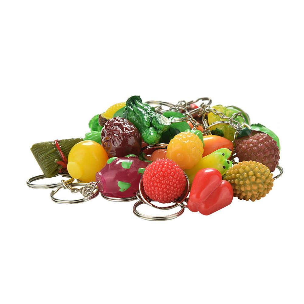 1Pc Fruit Milho Cogumelos Vegetais Banana Maçã Da Corrente Chave Chaveiro Chaveiro Anel Chave Para Presentes Chaveiros Alimentos Aleatoriamente enviar