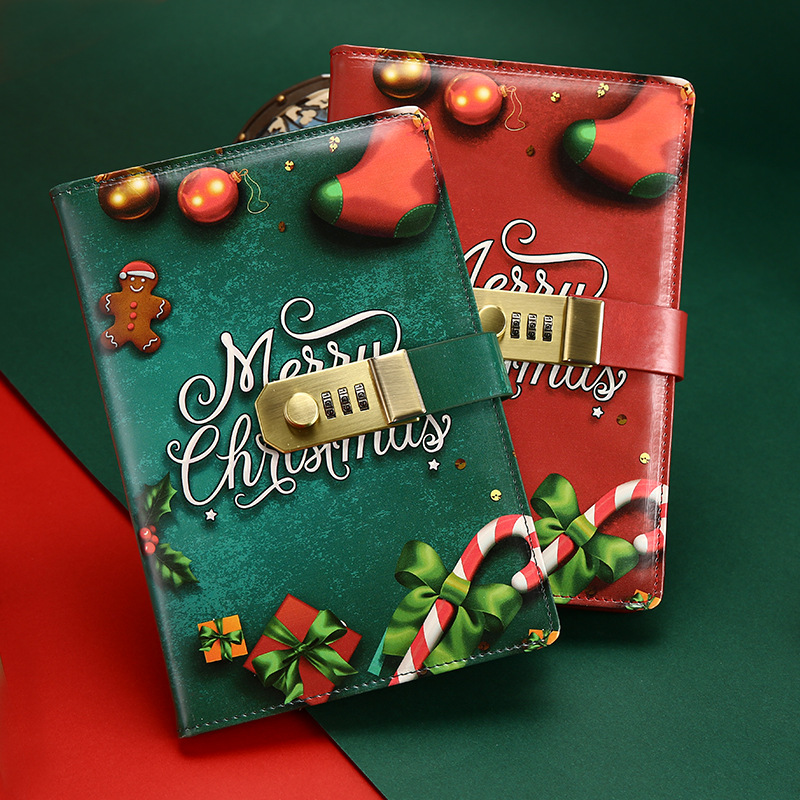 creative stationery notebook retro Password book with lock diary thread installed Notepad Christmas books school office supplies cute pu christmas notebook with password lock school students new year gift diary planner notepad