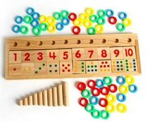 цена на Montessori materials educational Rainbow Dominoes Children Preschool Teaching Aids Counting Stacking Board Wooden Math Toy W083