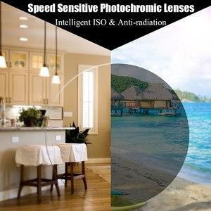 Image 2 - MR 8 Super twarde fotochromowe cyfrowe, bezkształtne, progresywne soczewki korekcyjne asferyczne do diamentowych oprawek okulary bez oprawek