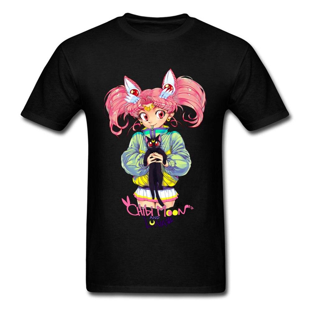 Chibi Луна Geek короткий рукав футболки Новый год день круглый воротник 100% хлопчатобумажной ткани Для мужчин футболка Geek толстовки 2018 Новые