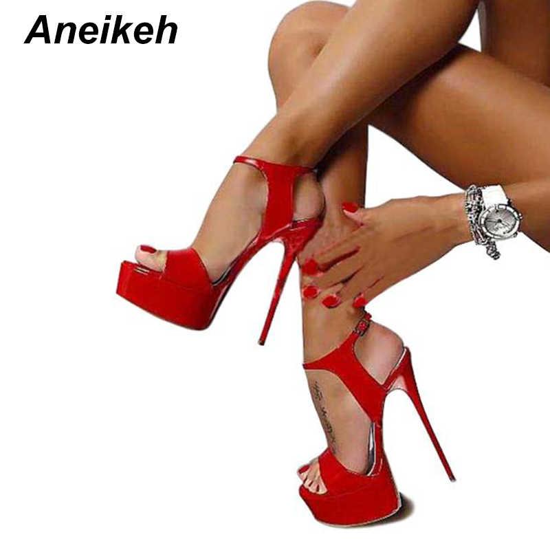 Aneikeh Büyük Ayakkabı Boyutu 41 42 43 44 45 46 16 CM Yüksek Topuklu Sandalet Yaz Seksi Burnu açık Parti elbise Platformu Gladyatör Kadın Ayakkabı
