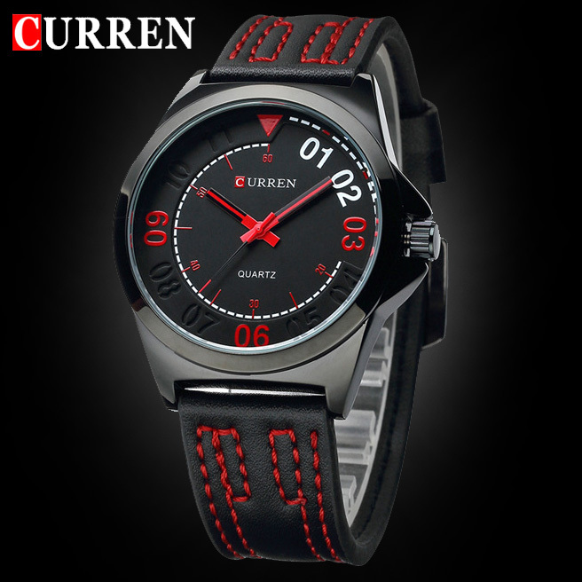 Hot sale CURREN Men Quartz Watches Sports and Military Wristwatch PU Leather Strap Watch Casual Male