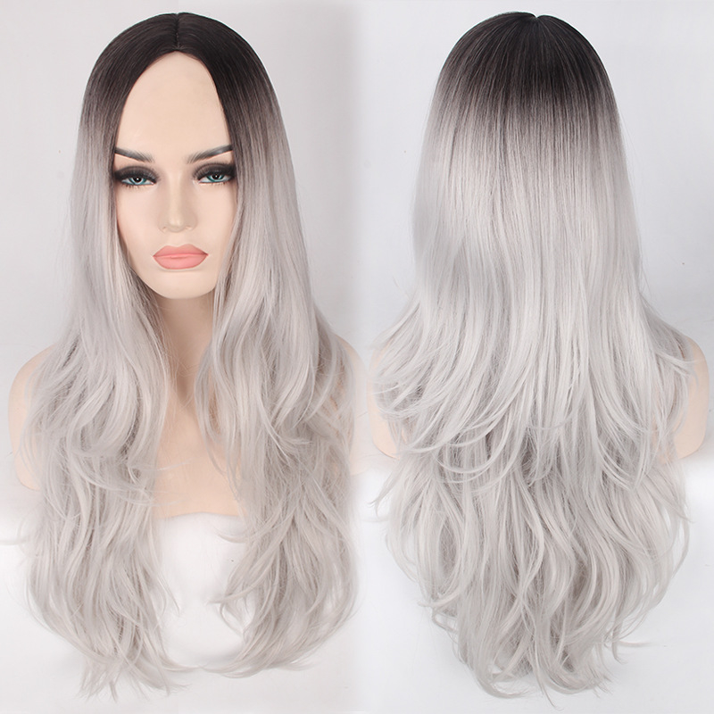 High Quality Grey Ombre Wig Long Gray Black Curly Wigs
