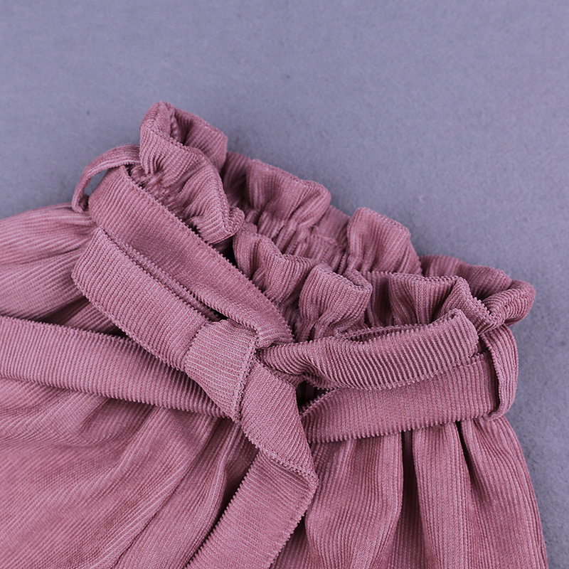 Baby Girls Shorts Solid Bow Ruffle Culottes Fashion Autumn Winter Shorts Corduroy PP Shorts For Children 1 5Y Toddler Clothing in Shorts from Mother Kids