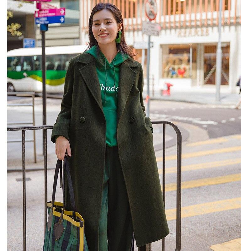 Инман отложным воротником повседневные одной кнопки регулируемый пояс Для женщин длинные 100% Шерстяное пальто