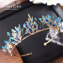 Himstory Handmade Blue Crystal Wedding Crown Tiara Bridal Hair Accessories  Princess Diadem Headpiece Hair Jewelry недорого