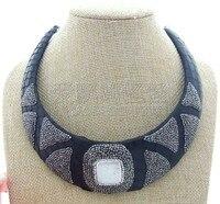 N050605 White Keshi Square Pearl Black Leather Choker Necklace