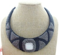 N050605 White Keshi Square Pearl Black Leather Choker Necklace