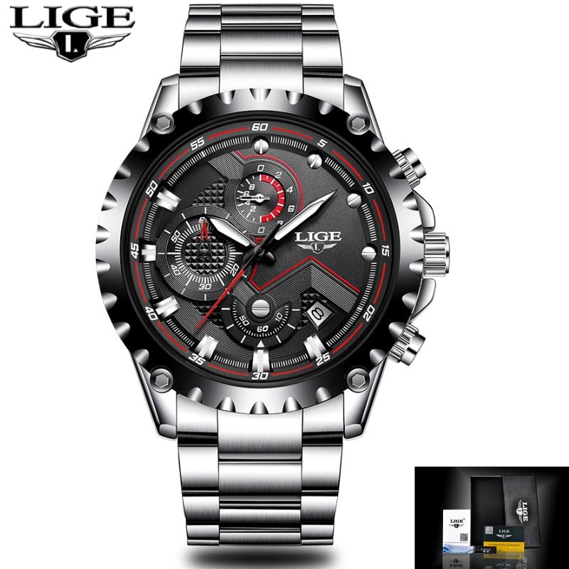 LIGE Watch Mens Fashion Sport Quartz Clock Mens Watches Top Brand Luxury Full Steel Business Waterproof Watch Relogio Masculino цена