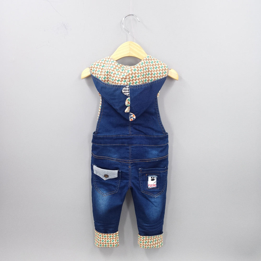 3-4T Top Quality 100% Cotton Soft Baby Overalls Infant Long Pants Overalls Hooded Cute Girls Boys Jeans Jumpsuit Rompers Toddler