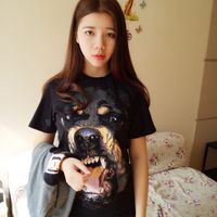 2018 New Tide Brand Spring And Summer Ladies Primer Shirt 3D Dog Head Men And Women