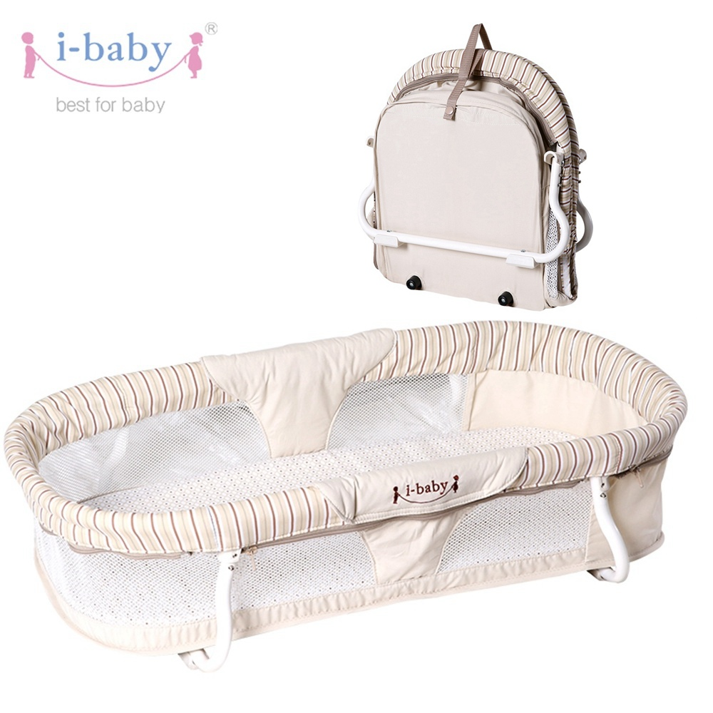 i-baby Portable Baby Carrycot Easy Carry Travel Bassinet Infant Cot Cradle Baby Crib Folding Cotbed Sleeping Basket Baby Bedding woven baby cradle bassinet for newborn sleeping basket crib bassinet cradle travel car seat cradle portable baby bassinet basket