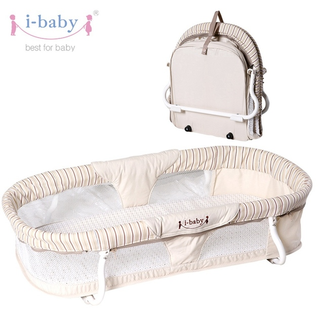 I Baby Portable Carrycot Easy Carry Travel Binet Infant Cot Cradle Crib Folding Cotbed Sleeping Basket Bedding