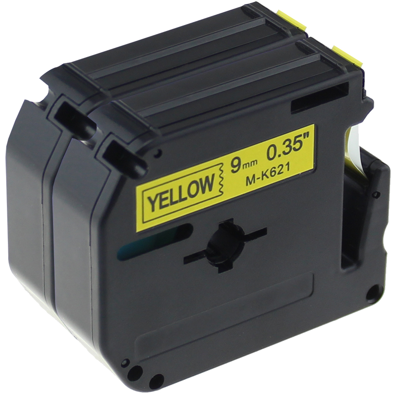 2 pcs/lot MK621 M-K621 Labelling M Tape Replacement for Brother P touch, Black on Yellow, 9mmx8m