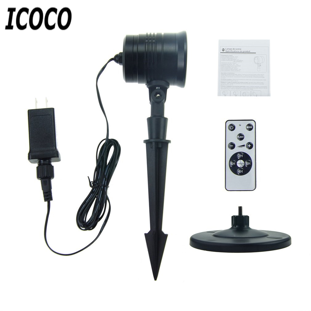 ICOCO 1pcs Waterproof Landscape Stage Lamp Sky Stars Decorative Projector Lights RF Remote for Halloween Thanksgiving Christmas
