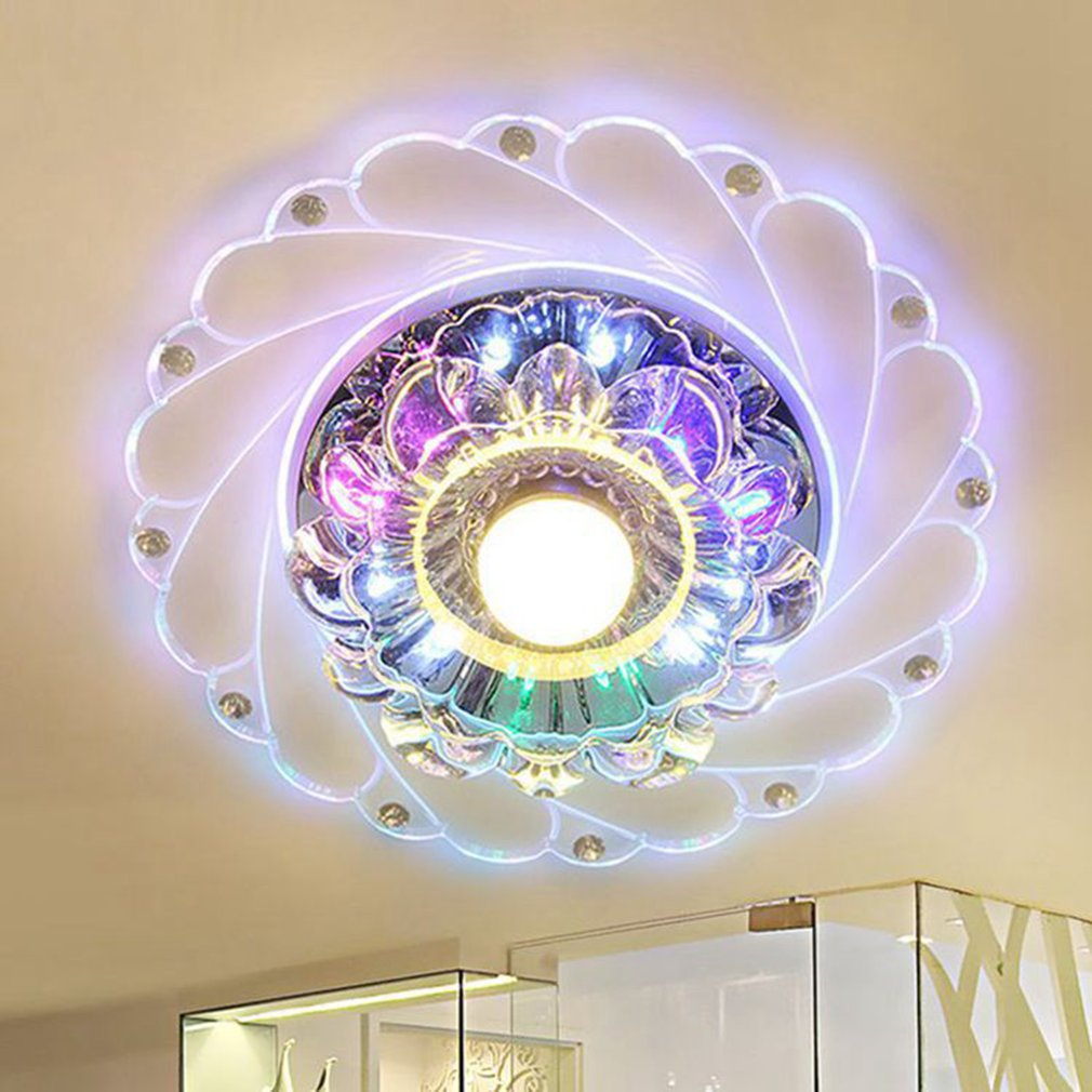 ICOCO Modern Acrylic Crystal Colorful LED Ceiling Light Simple Round Romantic Lamp Bedroom Living Room Home Decoration Lamps noosion modern led ceiling lamp for bedroom room black and white color with crystal plafon techo iluminacion lustre de plafond