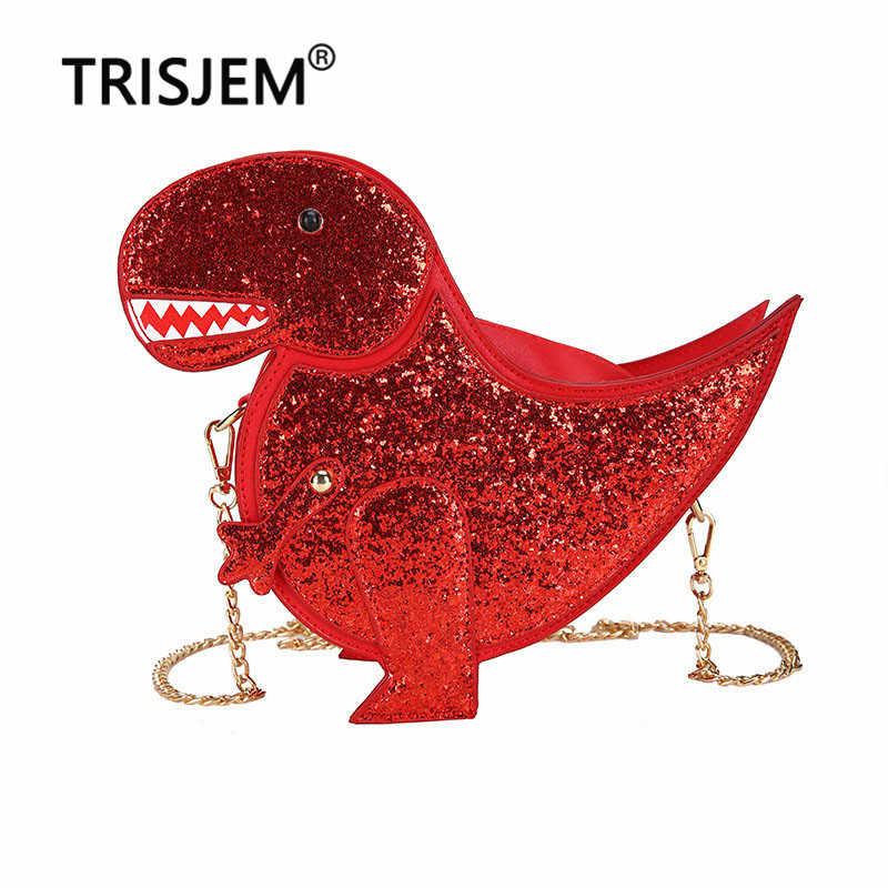 Модные роскошные сумки с динозавром женские сумки дизайнерские сумки для женщин 2019 женские сумки-мессенджеры поперечные цепи с клапаном красные, розовые