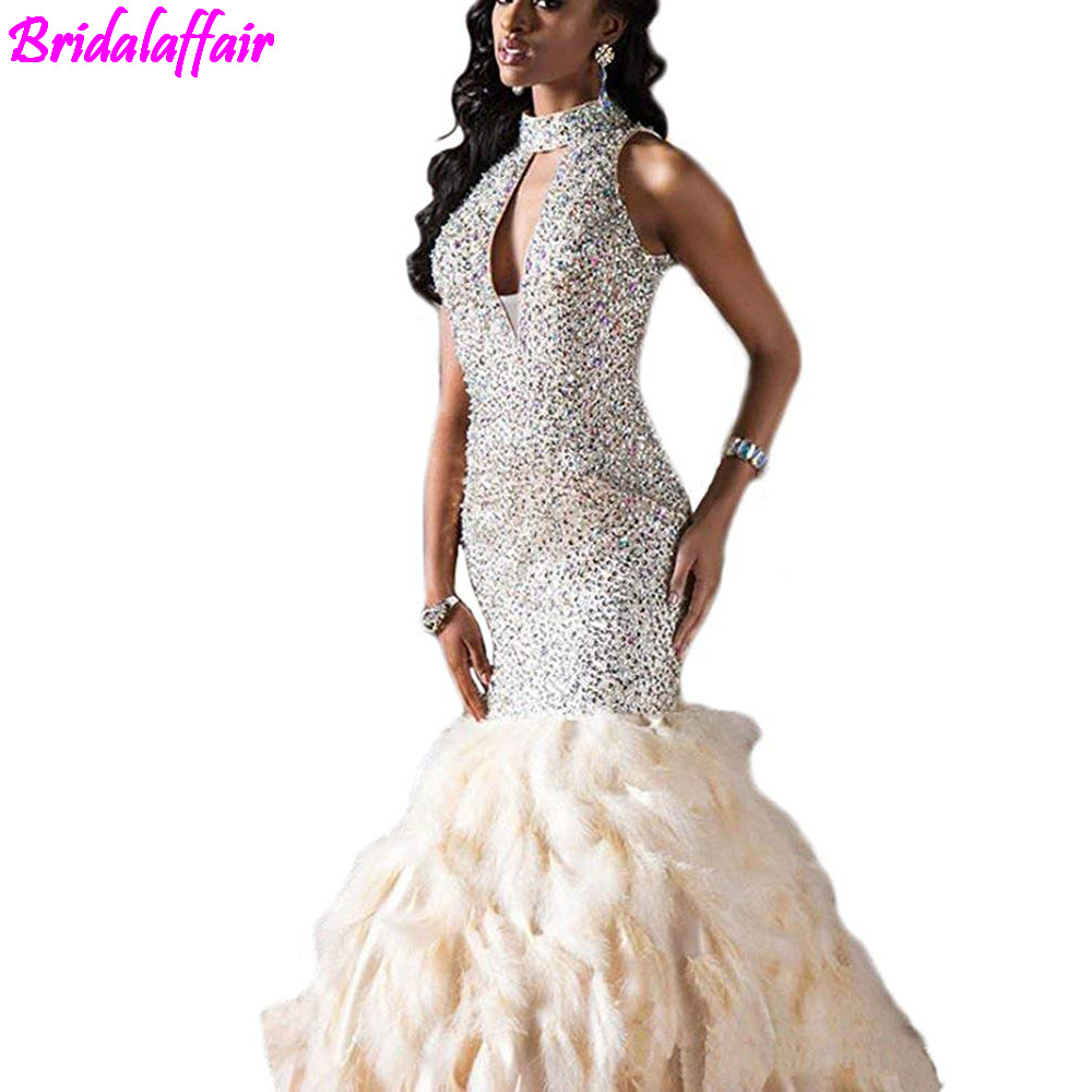 Mermaid Prom Dress High Neck Feather Rhinestone Sequin Prom Dress 2018 gown prom Long Evening Gown vedtidos de festa ballkleider