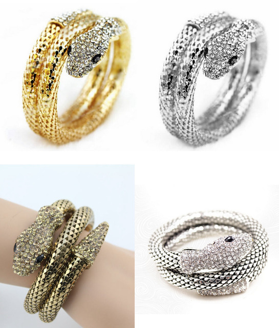 Hot Punk Rhinestone Curved Stretch Snake Bracelet Chunky Mesh Chain  Statement Cuff Bangle Nightclub Jewelry 12Pcs Lots 54be05b4d35f