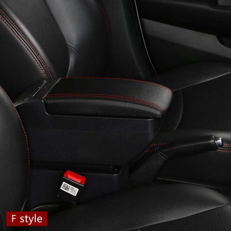 For Honda New City armrest Dual Layer Large Space PU Leather Central Store Content Box with cup holder ashtray USB interface Mod