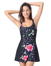 Delimira Women's Floral Print One Piece Swimwear Swimsuit Plus Size Women Beachwear with Skirt