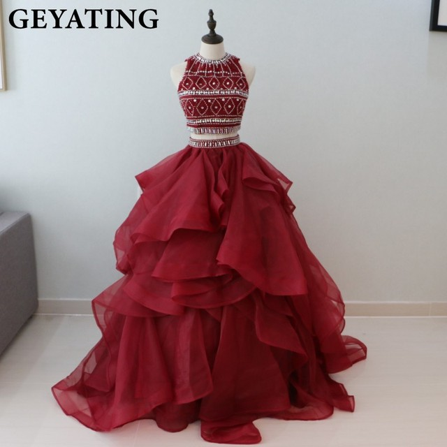 Burgundy Crystal Ruffles Two 2 Pieces Quinceanera Dress 2018 Wine