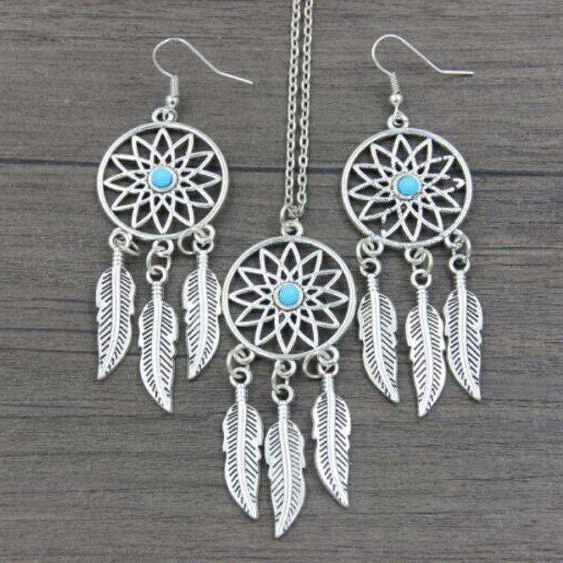 Silver Jewelry Set Bohemian Dreamcatcher Necklace Earrings Set Silver Jewelry