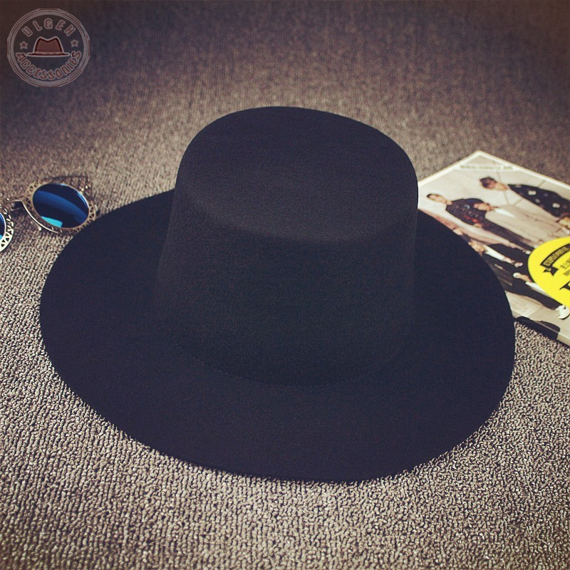 f7e16cae149 BIGBANG GD black fedora hats for men Pure Wool Large brim Winter red ...