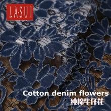 LASUI New product 1 yard 2colors United States big high-end custom cotton denim embroidered fashion lace dress  DIY fabric X0120