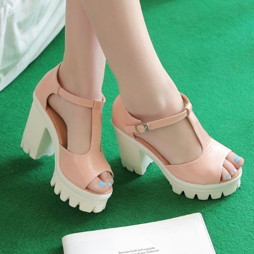 ФОТО Brand New 2015 High Thick Heels Gladiator Sandals Vintage Plastic Sole Platform Open Toe Ankle Strappy Summer Women Shoes