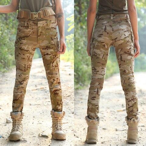 Militar ao ar Alta Trecho Camo Treinamento Livre Calças Slim Mulheres Sports Camping Caça Escalada Algodão Respirável Táticas