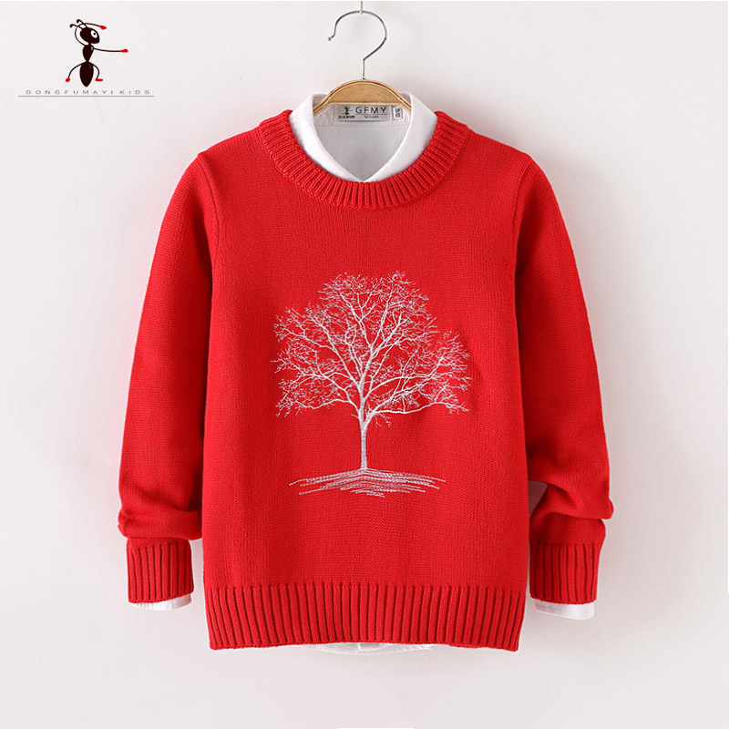 купить 2018Kung Fu Ant Autumn Winter Embroidery Pattern 100%Cotton O-neck Boys Sweaters Knitted Lovely No Hair Ball Children's Sweater