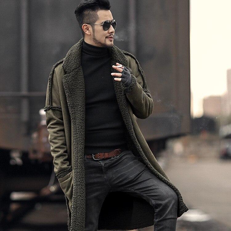 Double-sided Wear Woolen Furry Fleece Jacket Long Version of Warm Coat for Men Winter Men's Plush European Style Brand New Coat