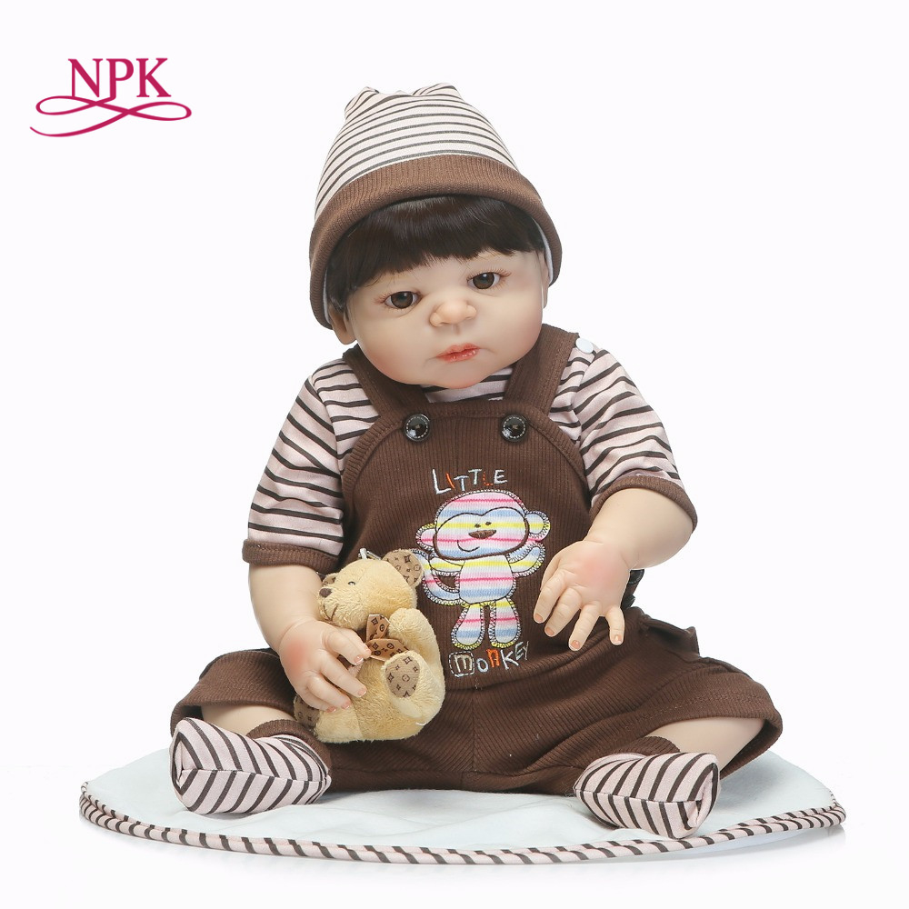 NPK 55cm full Body Silicone Reborn Baby Girl boy Dolls Toy Play House Lifelike Newborn Sleeping Babies bebe Reborn Doll