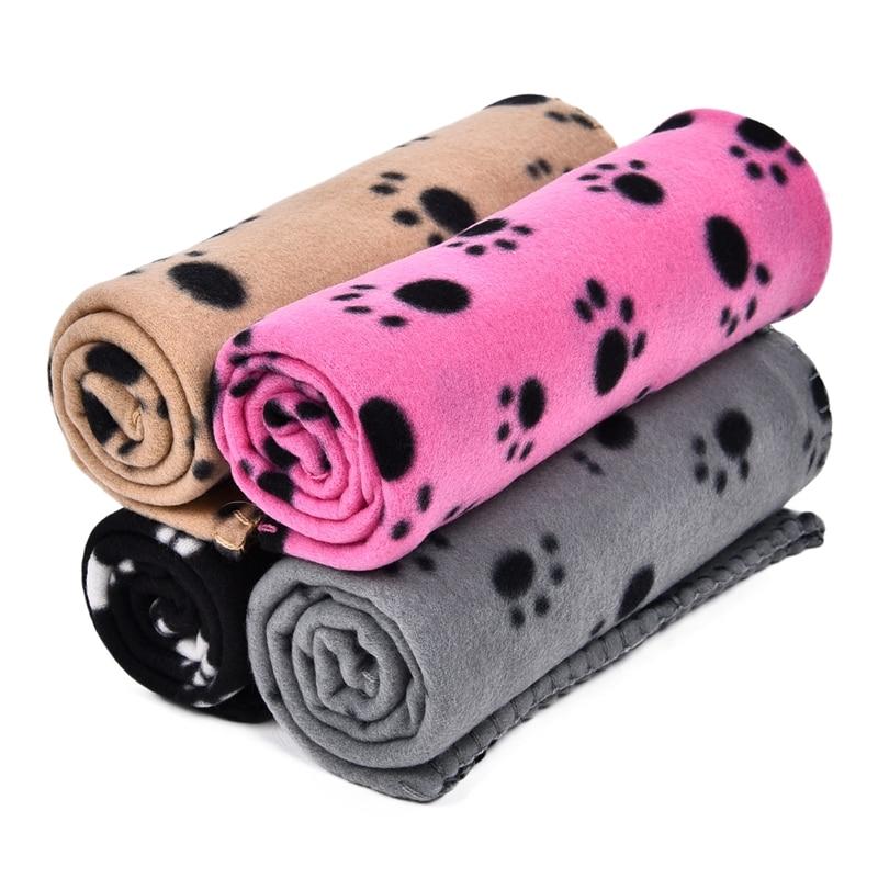 Wholesale Pet Blankets Mat Blanket Lovely Design Paw Print Soft Warm Fleece Dog Cat Mat Puppy Bed Sofa Cushion Pet Kitten Towels