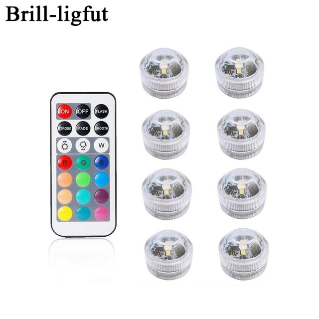 Battery Operated Waterproof RGB Submersible LED Light Underwater Night Lamp Tea Lights for vase,bowls,aquarium and party Wedding